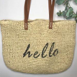 HELLO WICKER HAY WOVEN BEACH BAG